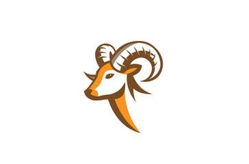 Furious Ram Horn Logo Design Illustration