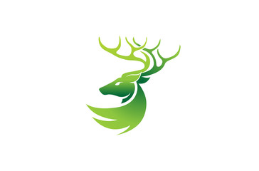 Creative Green Geometric Abstract Deer Logo Design Illustration