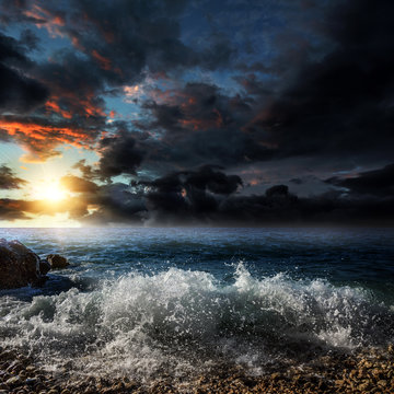 Dramatic cloudy sky over the sea.