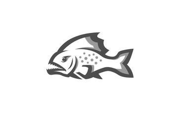 Creative Piranha Fish Logo Design Illustration