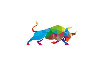 Colorful Geometric Bull Logo Design Illustration