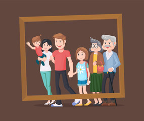 Family portrait flat design. Photo for the memory of the whole family in a wooden frame.