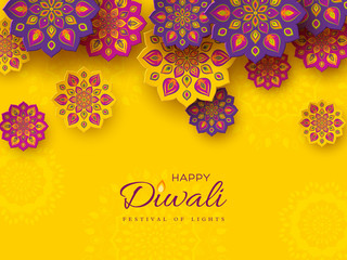 Diwali festival holiday design with paper cut style of Indian Rangoli. Purple, violet color on yellow background, vector illustration.