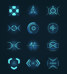Target element of the futuristic interface. Isolated aim of sniper weapon. Futuristic game target.