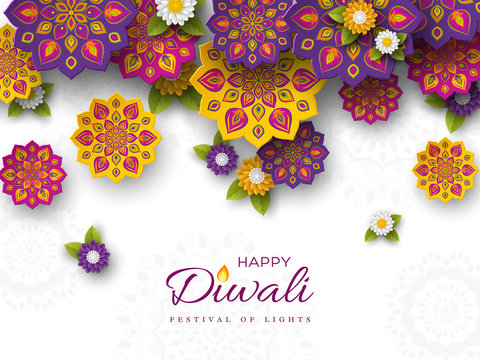 Diwali festival holiday design with paper cut style of Indian Rangoli and flowers. Purple, violet, yellow colors on white background, vector illustration.