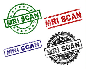MRI SCAN seal prints with corroded surface. Black, green,red,blue vector rubber prints of MRI SCAN label with corroded surface. Rubber seals with circle, rectangle, rosette shapes.