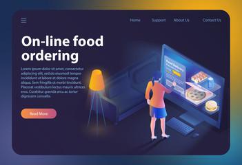 On-line Food Ordering. Vector Illustration.