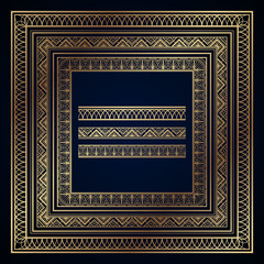 Gold art deco frames and borders on dark blue background