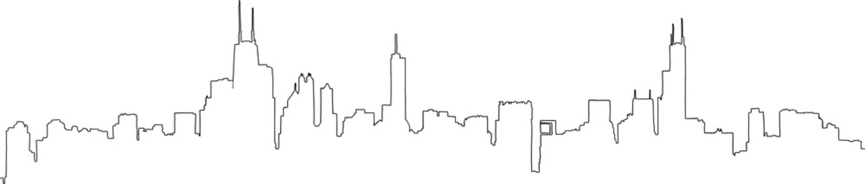 Single line outline drawing of the full Chicago skyline, including all the famous landmark towers. Hand drawn vector illustration.