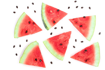 slices of watermelon isolated on white background. Top view. Flat lay pattern