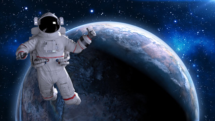 Wall Murals Nasa Astronaut in space giving thumbs up, cosmonaut floating above planet Earth, 3D rendering