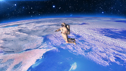 Astronaut above planet Earth, cosmonaut floating in space, 3D rendering