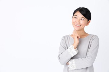 portrait of young asian woman on white background