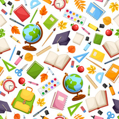 Vector seamless pattern with various school supplies on a white background.