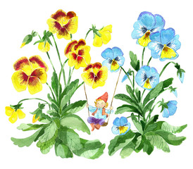 Funny little gnome on swings in beautiful garden pansy flowers. Watercolor cartoon clip art illustration, doodle hand drawn graphic isolated on white