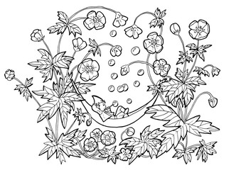 Vector drawing of funny gnome in hammock blowing bubbles in anemone flowers. Black and white cartoon clip art illustration, doodle hand drawn graphic