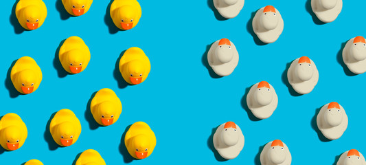 White and yellow rubber ducks in different directions concept