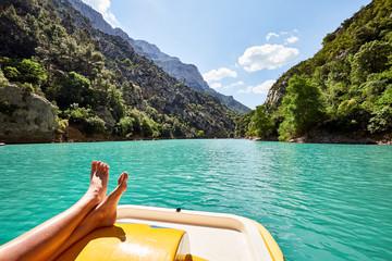 tourist on pedalo at St Croix Lake, Les Gorges du Verdon, Proven