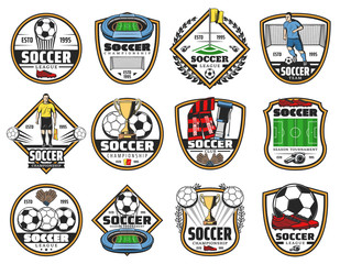 Soccer or football sport game championship label