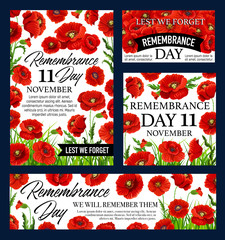 Red poppy flower Remembrance Day memorial banner
