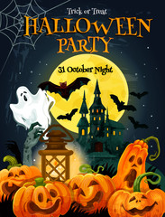 Halloween horror party poster for autumn holiday