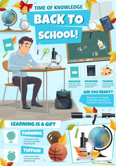 Education tips poster with student, class supplies