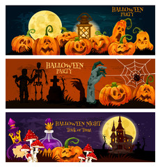 Halloween holiday zombie night party banner design