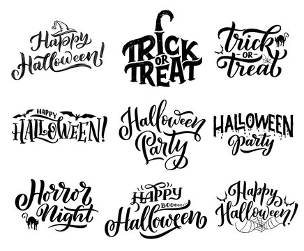 Halloween icons with greeting wishes lettering