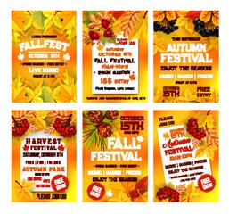 Autumn harvest festival poster template set design