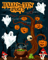 Halloween party invitation banner with fear ghost