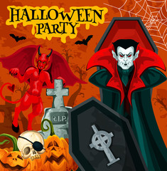Halloween night party poster with horror vampire
