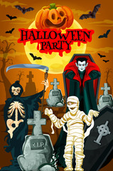 Halloween night party banner with horror cemetery