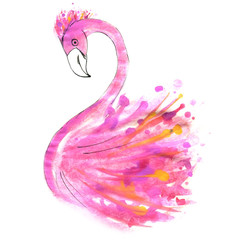flamingos painted with watercolor strokes and drops