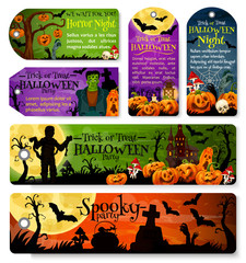 Halloween tag or october holiday night party label