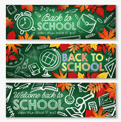 Back to school chalkboard banner, education design