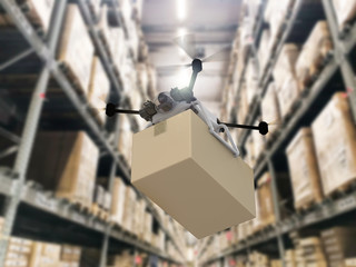Wall Mural - delivery drone holding cardboard box
