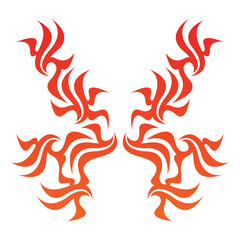 Tribal flame decoration. Simple fire tattoo. Burn decoration.