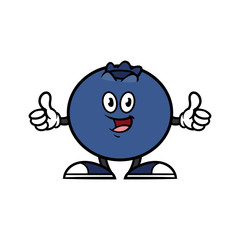 Cartoon Blueberry Character Giving Thumbs Up