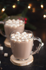 Foto op Canvas Chocolade Hot Chocolate on a Table set for the Holidays