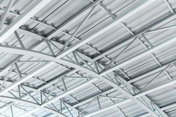 arched metal sheet roof with steel truss structure