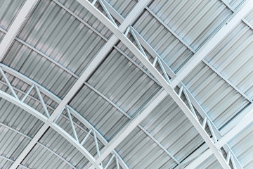 metal truss roofing of the industrial building. inside view