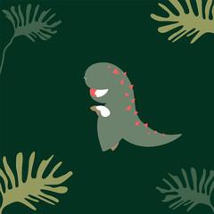 flat design of kid character in t rex mascot dress, green jurassic theme