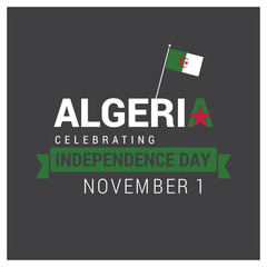 Algeria Independence day design card vector