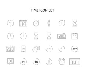 Line icons set. Time pack. Vector illustration