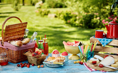 Exquisite summer picnic scene with copy space