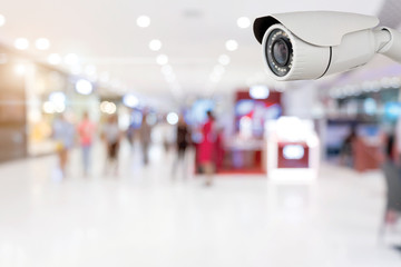 CCTV security with shop store blurry background