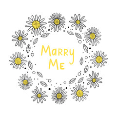 Vector illustration of Flower frame. Marry me. Scandinavian motives. Cartoon background