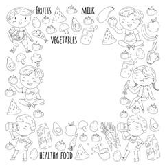 Healthy food for children. Kindergarten, school kids eating watermelon, eggplant, fish, tomato, avocado, milk, carrot, mushrooms. Fruits and vegetables. Vector patterns.