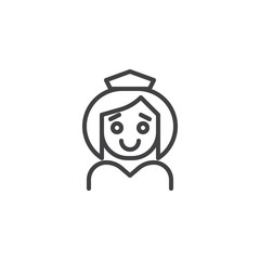 Nurse outline icon. linear style sign for mobile concept and web design. Medical Assistant simple line vector icon. Symbol, logo illustration. Pixel perfect vector graphics