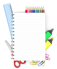 Back to school: paper, pens, pencils, textbooks and equipment for the upcoming school year.